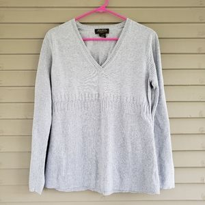 Eddie Bauer Gray V Neck Sweater Size Large Tall